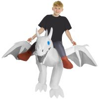 Kids White Ride On Dragon Inflatable Costume